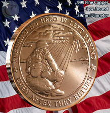 """Insuring No Hero is Left Behind"" 1 oz .999 Copper Round Love Your Veterans"