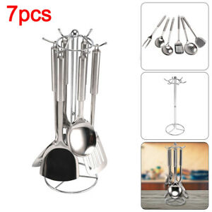 7PC STAINLESS STEEL KITCHEN TOOL FORK LADLE SPOON SET UTENSILS COOKING GADGET