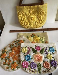 Vintage, Unused Bermuda Bag with 4 Raffia Covers