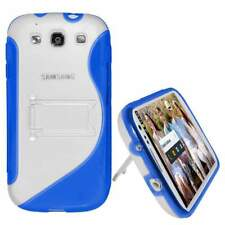 NEW AMZER BLUE SLIM SOFT HARD TPU WITH STAND FOR SAMSUNG GALAXY S3 III GT-I9300