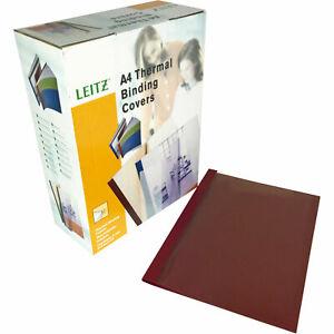 Leitz A4 Burgundy Leathergrain Leitz Thermal Binding Covers (100)
