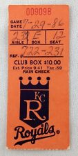 MLB 1986 07/29 Toronto Blue Jays at Kansas City Royals Ticket Stub-Dave Stieb WP