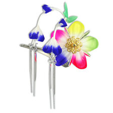 Japanese Hair Ornament Kanzashi Silk Flower, Blue Wisteria, Chimes Small