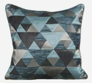 """Teal Blue Decorative 22""""x22"""" Couch Throw Pillow,Jacquard Triangle - Teal Origami"""