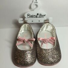 Rising Star Pink Glittery Ballet Shoes w/ Bow Baby Girl Slippers 3-6 months