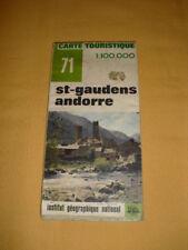 IGN France Carte Touristique N°71 St-Gaudens Andorre 1974