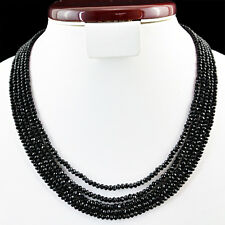 180.00 CTS NATURAL 5 LINE ROUND CUT RICH BLACK SPINEL BEADS NECKLACE - ON SALE