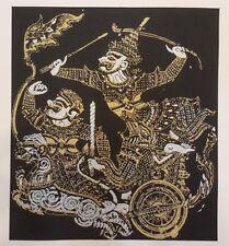 Ravana Figure Black Thai Silk Painting Ramayana Poster Print Home Decor Handmade