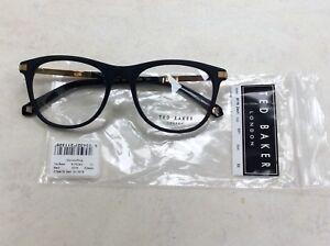 Ted Baker ZACH 8176 001 Matte Black Gold size 52x18 plastic glasses designer