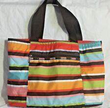 LeSportsac Rainbow Multi Bright Colored Stripe Tote Bag