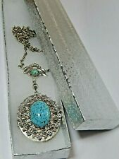 """Vintage Turquoise Faux Locket Silver Tone /Chain Hangs 15"""" W Gift Box"""