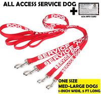ALL ACCESS Service Dog Canine LEASH Non Padded Handle Reflective, ADA Info Card