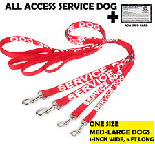 ALL ACCESS Service Dog Canine LEASH Non Padded Handle Reflective, ADA Info Card