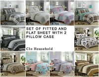 100% Cotton 4 Pcs Sheet Set (Fitted And Flat Sheet) + 2 Pillow Cases