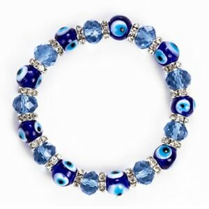 Good Luck Blue Turkish Evil Eye Bead Protection Bracelet Bangle Fashion Women