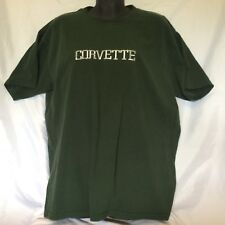 Corvette Embroidered T Shirt Size L VGUC Forrest Green Silver
