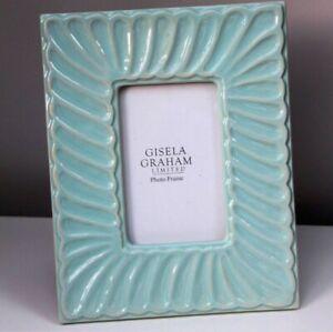 Gisela Graham Pale Blue Ceramic Wave Photo Frame 26cm H X20.50 New