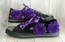 Black Wedding Shoes. Shabby Chic Roses/Rhinestones/Leaves.UK Sizes 3-8 Gothic