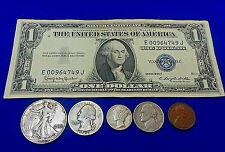 """Currency Collection of Old Money """"Silver Dollar Bill Silver Coins in Every Lot"""""""