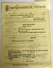 Vintage 1969 Appearance Contract between THE WHO and WOODSTOCK VENTURES INC