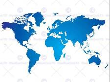 WORLD MAP BLUE WHITE PHOTO ART PRINT POSTER PICTURE BMP1563B