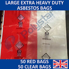 50 Red and 50 Clear EXTRA Heavy Duty Asbestos Disposal Bags 900mm x 1200mm