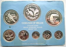 Belize 1980 Mint Set of 8 Bird Silver Coins,Proof,Rare!