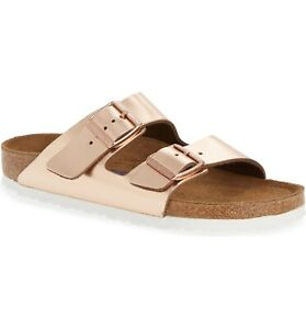 Birkenstock Arizona Slide Sandal: Size 41N: Copper Leather (151)