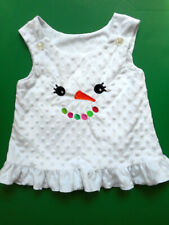 Girls Lolly Wolly Doodle Flocked White Holiday Snowman Top Sz 6 Portrait