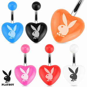 """1 PC 14g 3/8"""" Licensed Playboy Bunny Heart Acrylic Navel Belly Ring #1"""