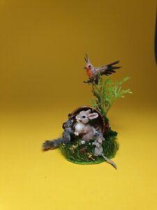 OOAK Realistic forest friends~cat~dog~ Dollhouse Handmade IGMA ARTISAN