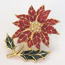 VINTAGE ? POINSETTIA FLOWER BROOCH ENAMEL CRYSTAL GOLD GREEN RED SIGNED 42518