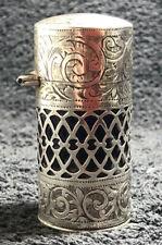 Antique Sterling Silver Condiment Pot / Casket Bottle With Blue Liner