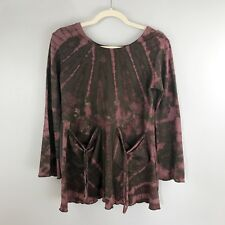 BOUTIQUE Boho Tie-Dyed Tunic Top S/M Long Bell Sleeve Front Pockets Festival