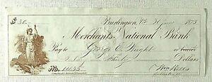 Civil War, General William Wells Handwritten & Signed Personal Check, MOH Winner