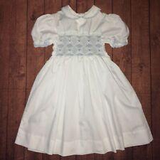 Vtg Polly Flinders Size 5 Smocked White Blue