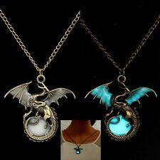 Men's Glow in the Dark Retro Dragon Pendant Necklace Silver Chain Jewelry Gift