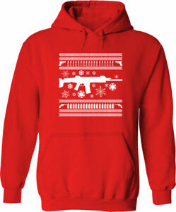 Hoodie Sweater Mens Women Unisex Pullover Gun Snow Ugly Christmas Gift S~3XL