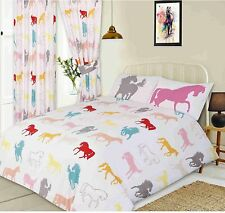 GIRL'S WHITE MULTI-COLOURED PONY GALLOPING HORSES DOUBLE BED FUN DUVET COVER SET