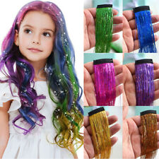 Clip in Hair Sparkle Tinsel Glitter Straight Synthetic Hair Extensions Mix Color