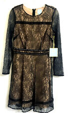 CeCe Black Nude Lace Fitted Sheat Dress Size 4  Cocktail Evening Long Sleeve NWT