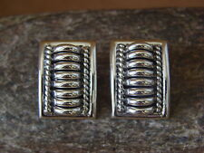 Ribbed Earrings by Thomas Charley Native American Indian Jewelry Sterling Silver