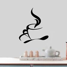 Coffee Cups Kitchen Wall Tea Sticker Vinyl Decal Art Restaurant Pub Window Decor