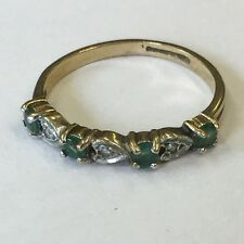 Vintage Solid 9ct Yellow Gold Diamond And Emerald Dress Ring Size M