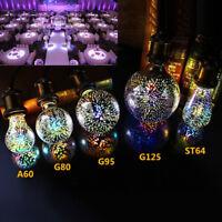 3D Fireworks E27 G80/G95/G125 LED Vintage Edison Fairy Lighting Bulb Lamp US