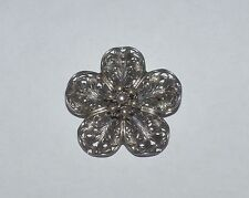 Vintage Beau Sterling Silver Filigree Flower Pin Brooch