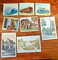 Lot of 8 Original Early German Military Cigarette Cards Trains Locomotive Archit