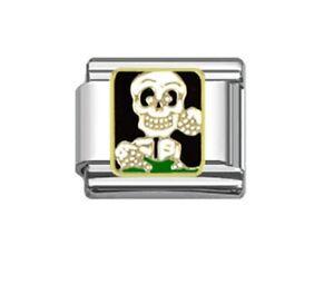 9mm Italian Charm  E80 Halloween Skull Bones Skeleton Fits Classic Size Bracelet