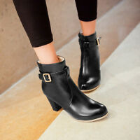 NEW Women Casual Zip High Heels Round Toe Ankle Boots Shoes US Size 3--14 B143