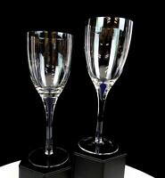"BOHEMIAN CZECH CRYSTAL COBALT BLUE BUBBLE STEM 2 PIECE 8 1/4"" WINE GLASSES"